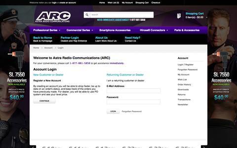 Screenshot of Login Page arcmics.com - Account Login | ARC - captured Oct. 4, 2014