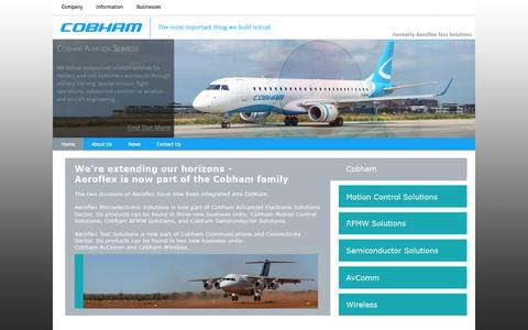 Screenshot of Home Page aeroflex.com - Aeroflex, a Cobham Company - Cobham AvComm - captured Oct. 1, 2015