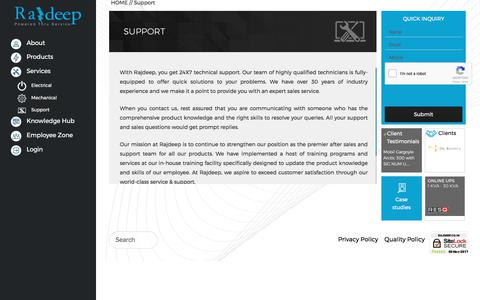 Screenshot of Support Page rajdeep.co.in - Rajdeep - 24X7 Sales & Technical Support | - captured Nov. 4, 2017