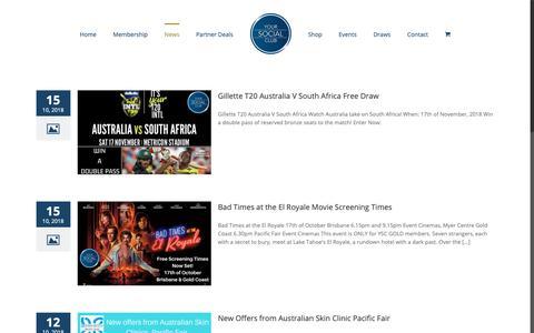 Screenshot of Press Page yoursocialclub.com.au - Latest News – Your Social Club - captured Oct. 20, 2018