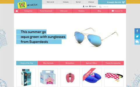 Screenshot of Home Page packmybag.in - Packmybag - Buy Bags, Wallets | Travel & Fashion Accessories Online - captured July 10, 2016