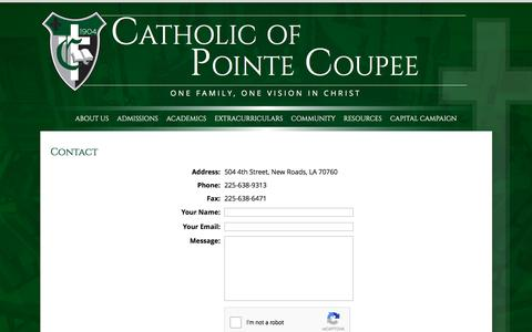 Screenshot of Contact Page catholicpc.com - Catholic of Pointe Coupee - captured Oct. 27, 2016
