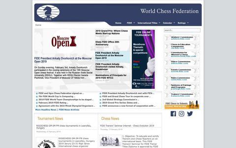 Screenshot of Home Page fide.com - World Chess Federation - FIDE - captured Feb. 7, 2019