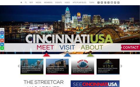Screenshot of Home Page cincyusa.com - Cincinnati USA / Cincinnati Convention and Visitors Bureau / CincyUSA.com - captured Sept. 28, 2018