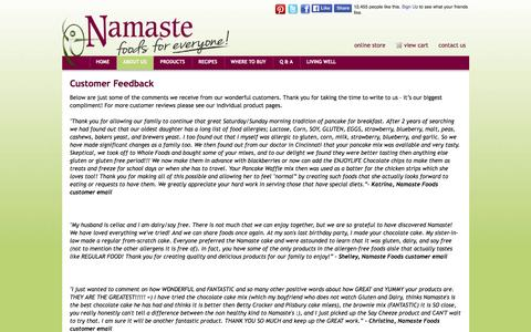 Screenshot of Testimonials Page namastefoods.com - Customer Feedback - captured Jan. 16, 2016