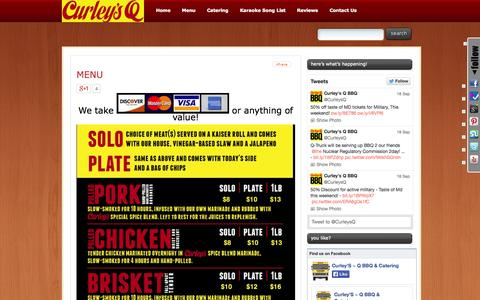 Screenshot of Menu Page curleysq.com - Curley's Q Menu | Curley's Q - Food Truck & Catering - captured Sept. 30, 2014