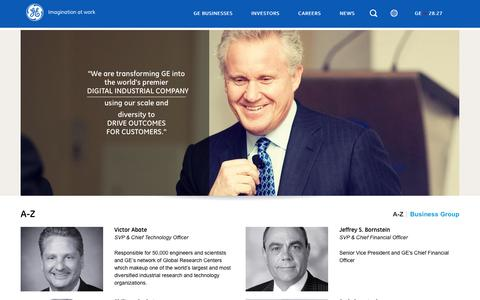Screenshot of Team Page ge.com - Corporate Executives | GE.com - captured May 15, 2017