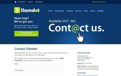 Screenshot of Contact Page slamdot.com - Contact us for help 24 hours a day, 7 days a week — Slamdot - captured Jan. 16, 2016