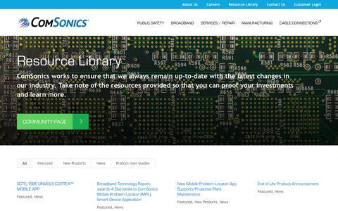 Screenshot of Press Page comsonics.com - Resource Library - ComSonics - captured Oct. 4, 2016