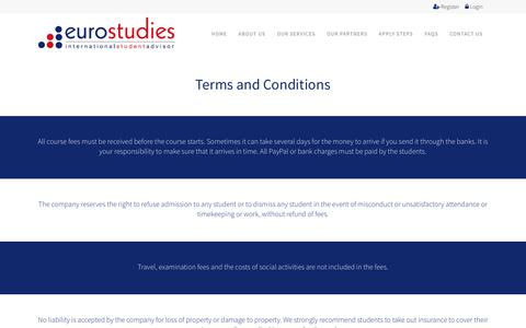 Screenshot of Terms Page eurostudies.co.uk - Terms And Conditions | Study Abroad And Learn English | Eurostudies, Bournemouth - captured July 22, 2018