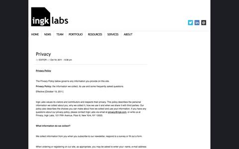 Screenshot of Privacy Page ingk.com - Privacy | Ingk Labs - captured Sept. 16, 2014
