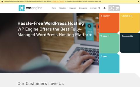 Screenshot of Home Page wpengine.com - WordPress Hosting & Managed WordPress Hosting | WP Engine - captured July 17, 2014