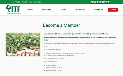 Screenshot of Support Page internationaltreefoundation.org - Become a Member - International Tree Foundation - captured June 8, 2017