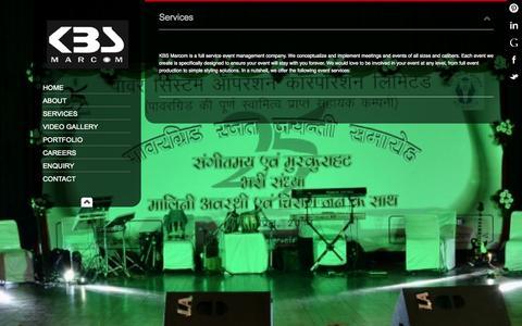 Screenshot of Services Page kbsmarcom.com - Services - captured Oct. 6, 2014
