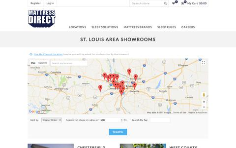 Screenshot of Locations Page stlmattressdirect.com - Mattress Direct. St. Louis area Showrooms - captured Oct. 17, 2017