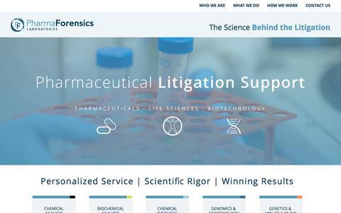Screenshot of Home Page pharmaforensicslabs.com - PharmaForensics Labs   The Science Behind the Litigation - captured Sept. 20, 2015
