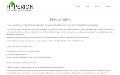 Screenshot of Privacy Page hyperionpc.co.uk - Privacy - captured Sept. 30, 2018