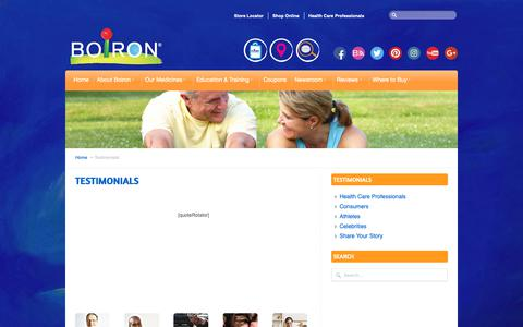 Screenshot of Testimonials Page boironusa.com - Testimonials - BOIRON USA - captured Dec. 7, 2018