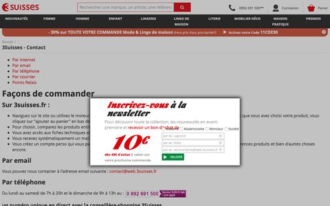 Screenshot of Contact Page 3suisses.fr - 3Suisses - Contact - captured Nov. 7, 2018
