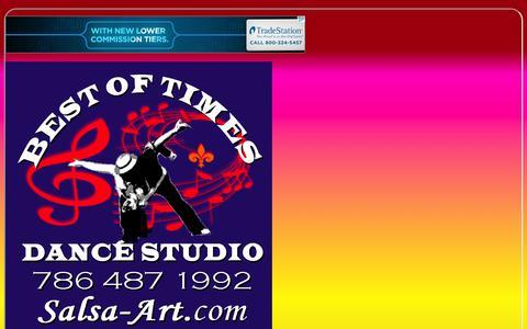 Screenshot of Home Page salsa-art.com - Salsa Miami Dance School 7-day/week, Zumba, Bachata Tango Argentino, - captured Oct. 6, 2014