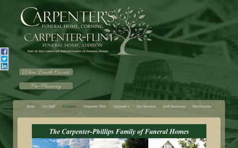 Screenshot of Locations Page carpentersfuneralhome.com - Locations   Carpenter's/Carpenter-Flint Funeral Home serving Cornin... - captured Sept. 27, 2018