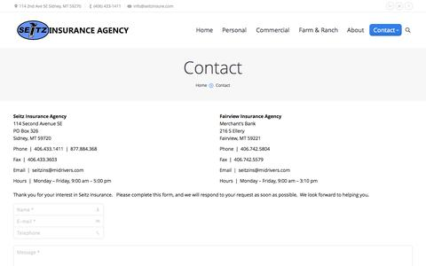 Screenshot of Contact Page seitzinsure.com - Seitz Insurance Agency   Contact Seitz Insurance, and Independent Insurance Agency in MT and ND - captured Oct. 3, 2014