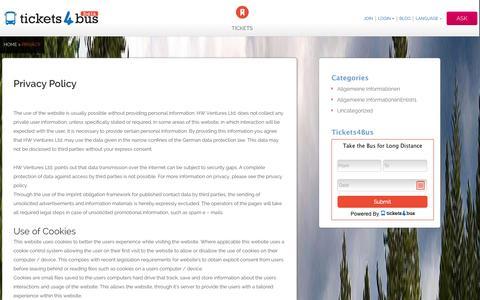 Screenshot of Privacy Page tickets4bus.com - Privacy - - captured Nov. 4, 2014