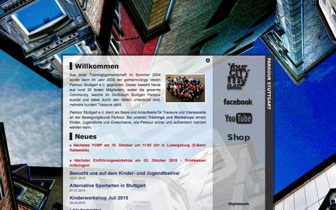 Screenshot of Home Page parkour-stuttgart.de - Parkour Stuttgart | Anfang - captured Sept. 23, 2015