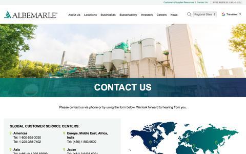 Screenshot of Contact Page albemarle.com - Contact Us Today | Albemarle - captured May 1, 2018