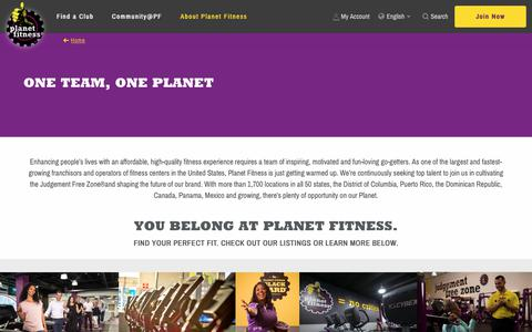 Screenshot of Jobs Page planetfitness.com - ONE TEAM, ONE PLANET | Planet Fitness - captured March 10, 2019