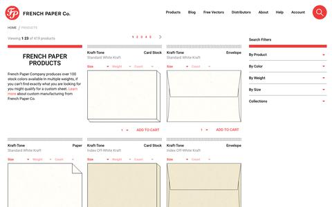 Screenshot of Products Page frenchpaper.com - Products | Colored Paper, Colored Envelopes, Custom Paper | Default Store View - captured June 29, 2018