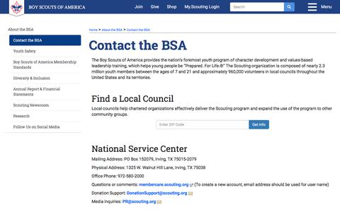 Screenshot of Contact Page scouting.org - Contact the BSA   Boy Scouts of America - captured Oct. 19, 2019