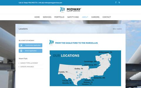 Screenshot of Locations Page midwayenergyservices.com - Midway Energy Services   –  Locations - captured Oct. 27, 2014