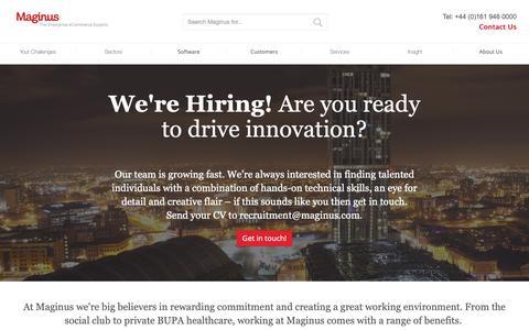 Screenshot of Jobs Page maginus.com - Careers in omnichannel software & eCommerce solutions - captured Oct. 1, 2018