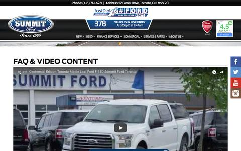 Screenshot of FAQ Page summitford.com - Faq & Video Content - Dealership Serving Toronto, ON | Summit Ford Sales - captured Sept. 21, 2018