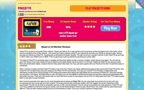 Screenshot of ohmybingo.com - Poker 770 - Great online poker site - 100% free - OhMyPoker - captured March 19, 2016