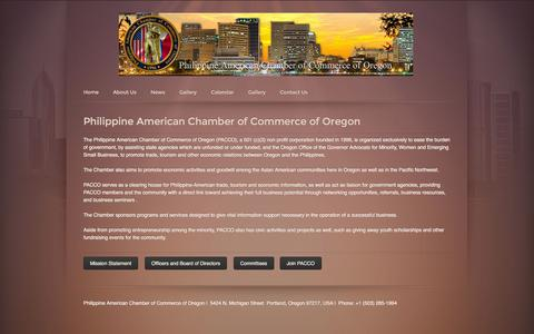 Screenshot of About Page pacco.org - About Us - Philippine American Chambers of Commerce of Oregon - captured Nov. 1, 2014