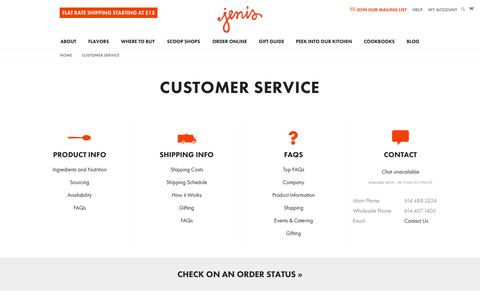 Screenshot of Support Page jenis.com - Customer Service - Jeni's Splendid Ice Creams - captured Sept. 19, 2014