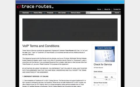 Screenshot of Terms Page tracerts.com - VoIP Terms and Conditions - Trace Routes - captured Oct. 6, 2014