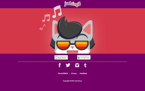 Screenshot of Home Page justsingit.com - Just Sing It! - captured Sept. 16, 2014