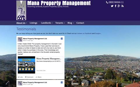 Screenshot of Testimonials Page manaproperty.co.nz - Testimonials - Mana Property Management Dunedin, Otago - captured Nov. 19, 2016