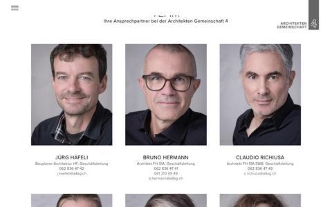 Screenshot of Team Page a4ag.ch - Team - A4AG - captured Feb. 2, 2018