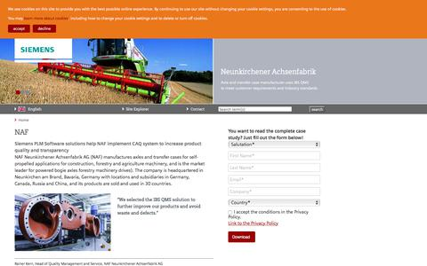 Screenshot of Case Studies Page siemens.com - NAF — Siemens PLM - IBS QMS - captured July 4, 2017