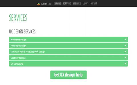 Screenshot of Services Page adamruf.com - San Francisco UX/UI Design Services - Adam Ruf - captured Oct. 4, 2014