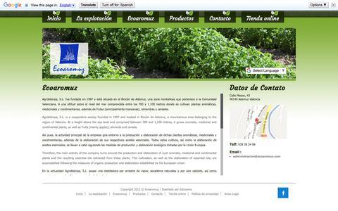 Screenshot of Home Page ecoaromuz.com - Ecoaromuz - Secador natural de plantas medicinales, condimentarias y aromáticas - captured July 16, 2018