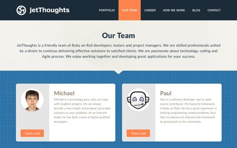 Screenshot of Team Page jetthoughts.com - Our Team - captured Aug. 7, 2016