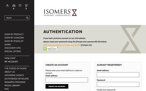 Screenshot of Login Page isomers.ca - Authentication - Isomers Laboratories Inc - captured Dec. 19, 2018