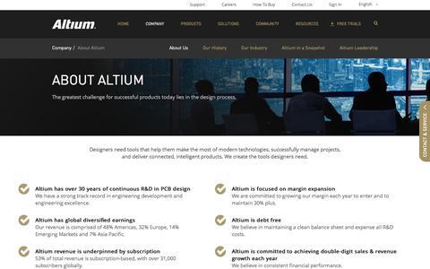 Screenshot of About Page altium.com - About Altium   Innovative PCB Design, ECAD / MCAD Collaboration & EDA Software - captured April 26, 2018