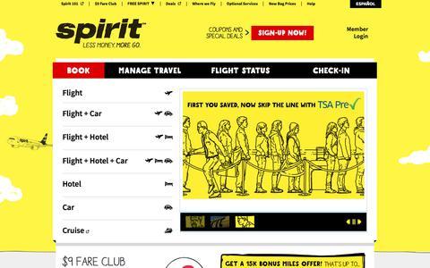 Screenshot of spirit.com - Spirit Airlines - cheap tickets, cheap flights, discount airfare, cheap hotels, cheap car rentals, cheap travel - captured June 20, 2017
