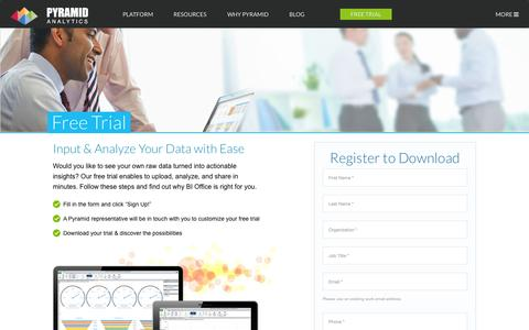 Screenshot of Trial Page pyramidanalytics.com - Trial Download | Pyramid Analytics - captured Nov. 18, 2015